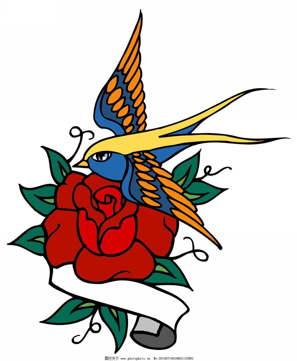 燕子纹身 燕子纹身免费下载 纹身设计图案素材 燕子彩色纹身 国外纹身