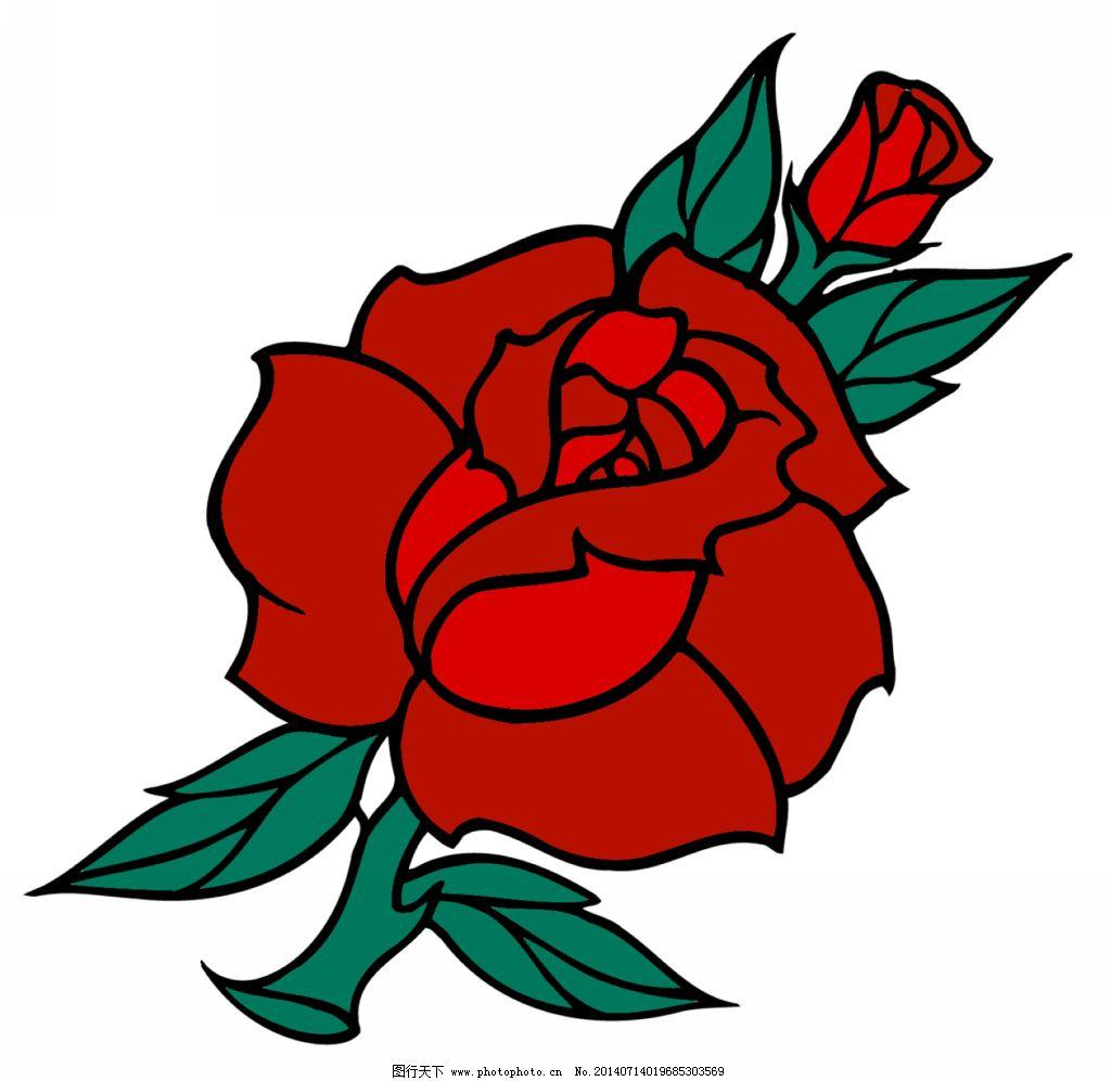 红玫瑰纹身免费下载 红玫瑰纹身 纹身设计图案素材 红玫瑰彩色纹身