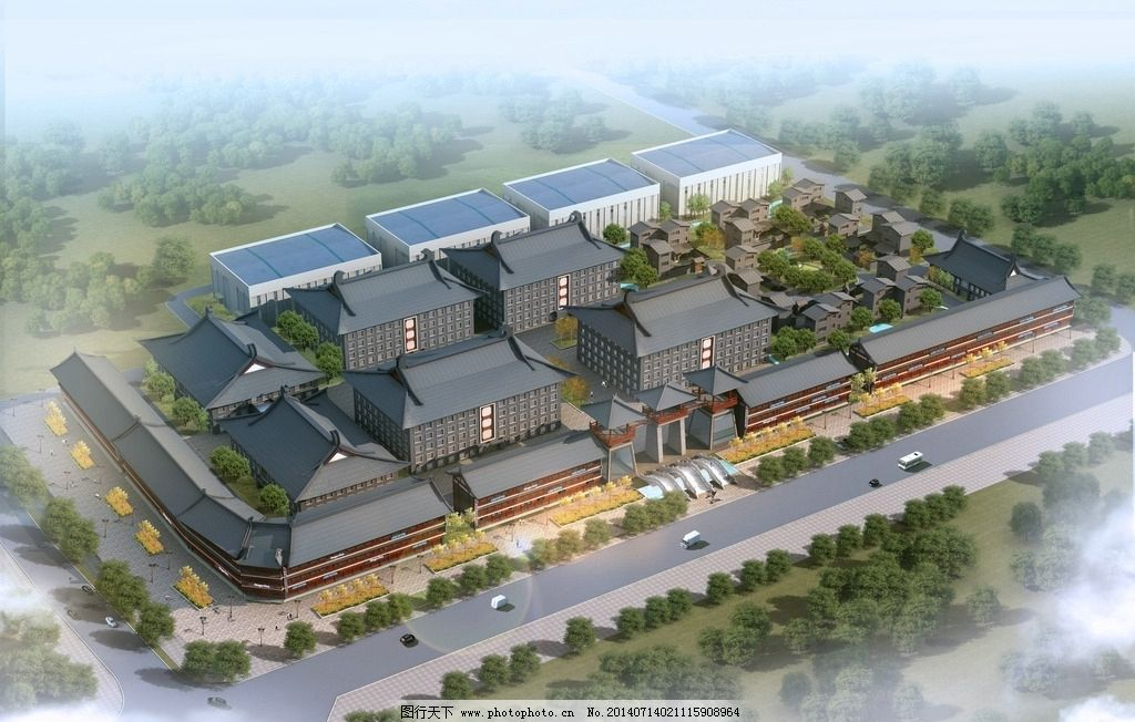 文化园鸟瞰图 文化园 规划 产业园 鸟瞰图        3d作品 3d设计 设计