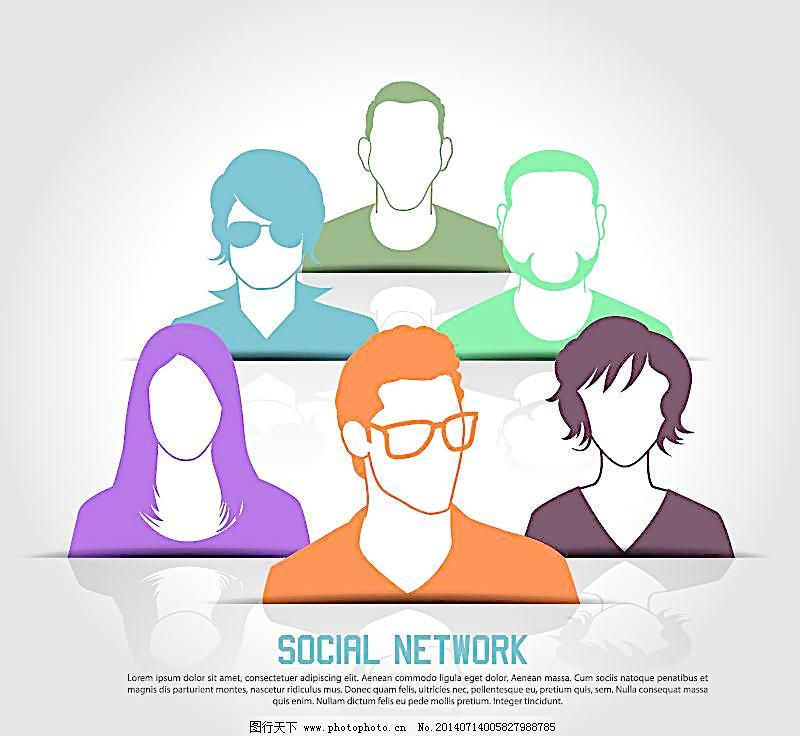 手绘 社交网络 职业人物 商务 手绘 影视 对话框 一群人 卡通人物