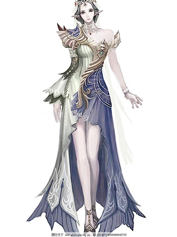 网络游戏紫发美女手绘