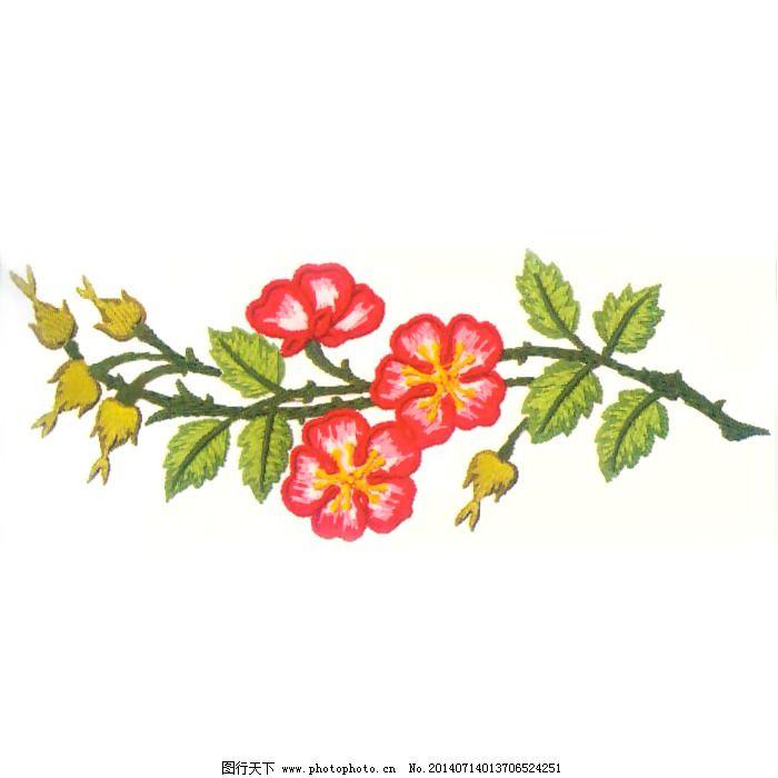 绣花 花朵 树叶 树枝 免费素材