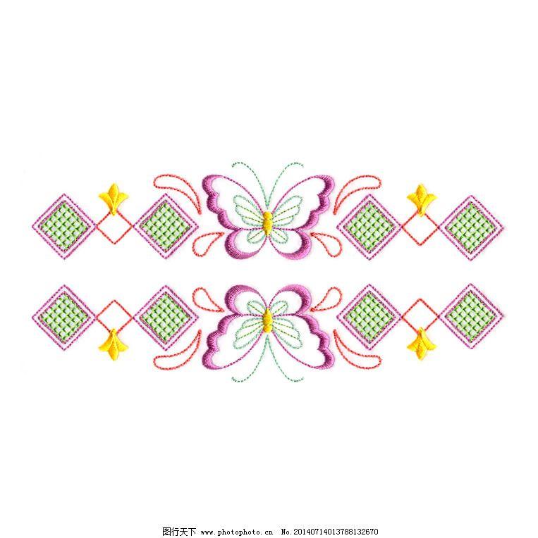 绣花 几何 方形 动物 昆虫 免费素材