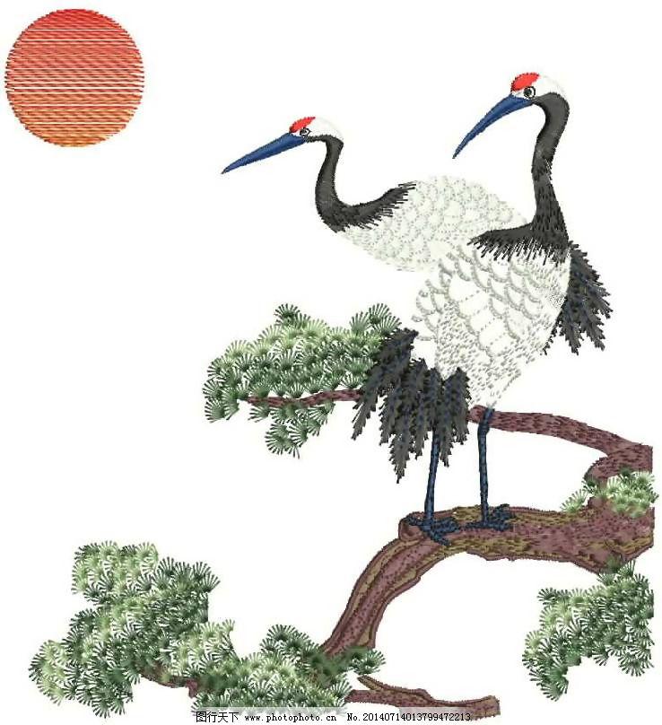绣花 仙鹤 树枝 鸟类 免费素材_图案花型_服装设计_图