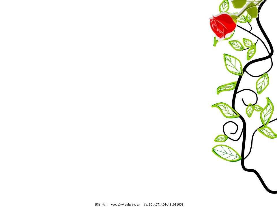 边角玫瑰ppt模板红玫瑰ppt模板免费下载 红玫瑰 花框 边角玫瑰ppt模板