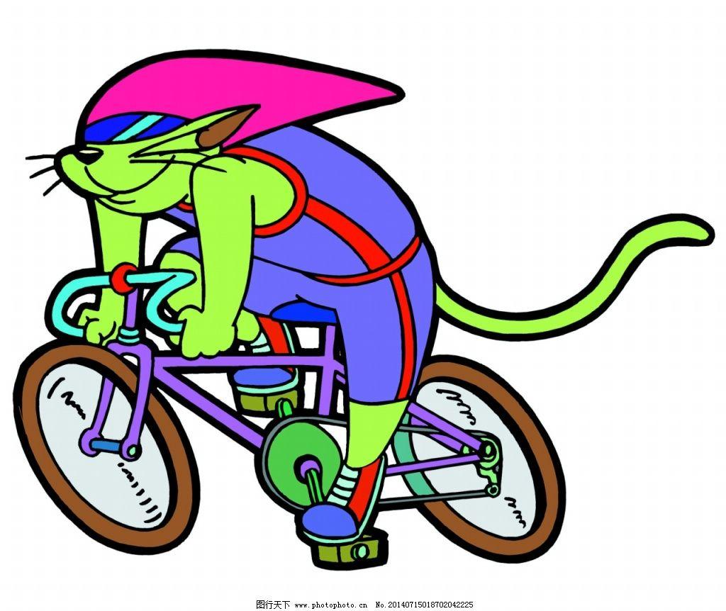 小猫骑车图片免费下载 儿童绘画素材 卡通小动物 小猫骑车卡通图画
