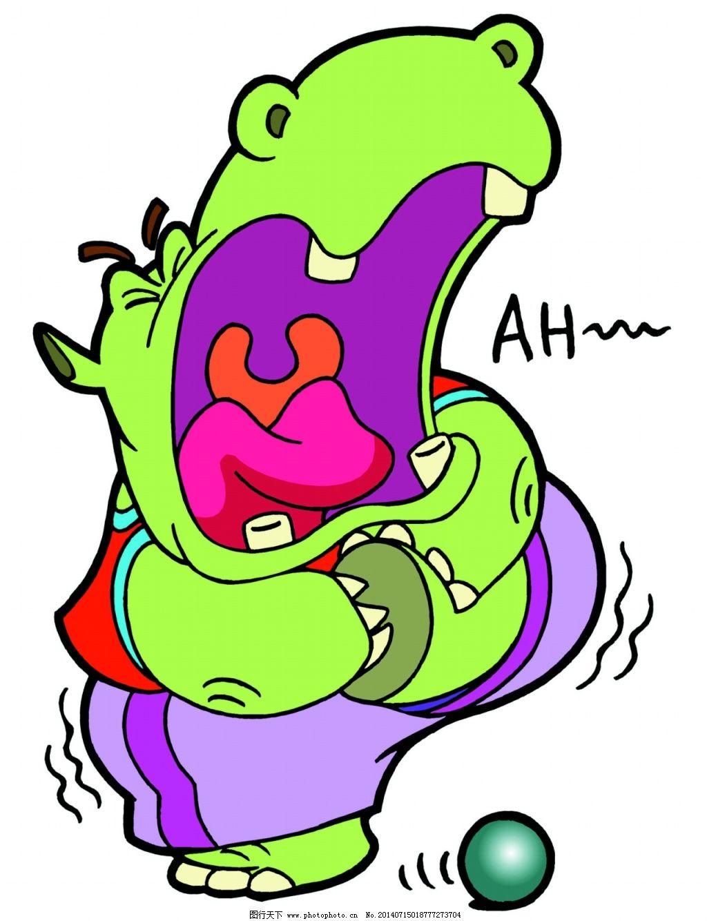 河马 河马图片免费下载 儿童绘画素材 卡通动物造型 河马卡通小动物