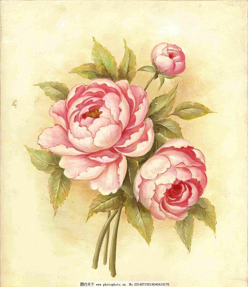 油画花卉 牡丹花 无框画花卉 油画抽象画 欧式 古典 环境设计