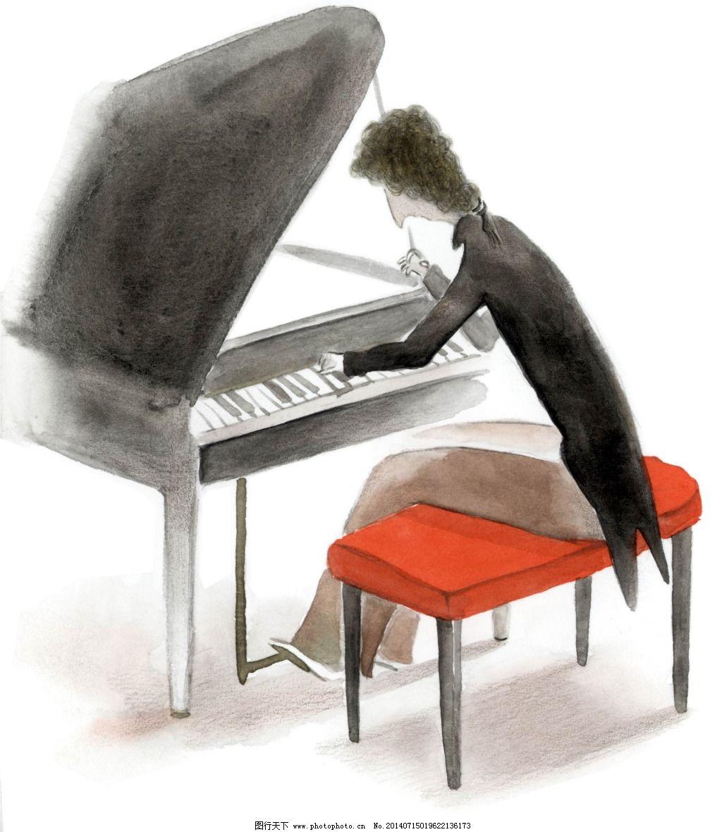 钢琴彩绘免费下载 儿童水彩画 钢琴彩绘 儿童水彩画 淡彩儿童插画