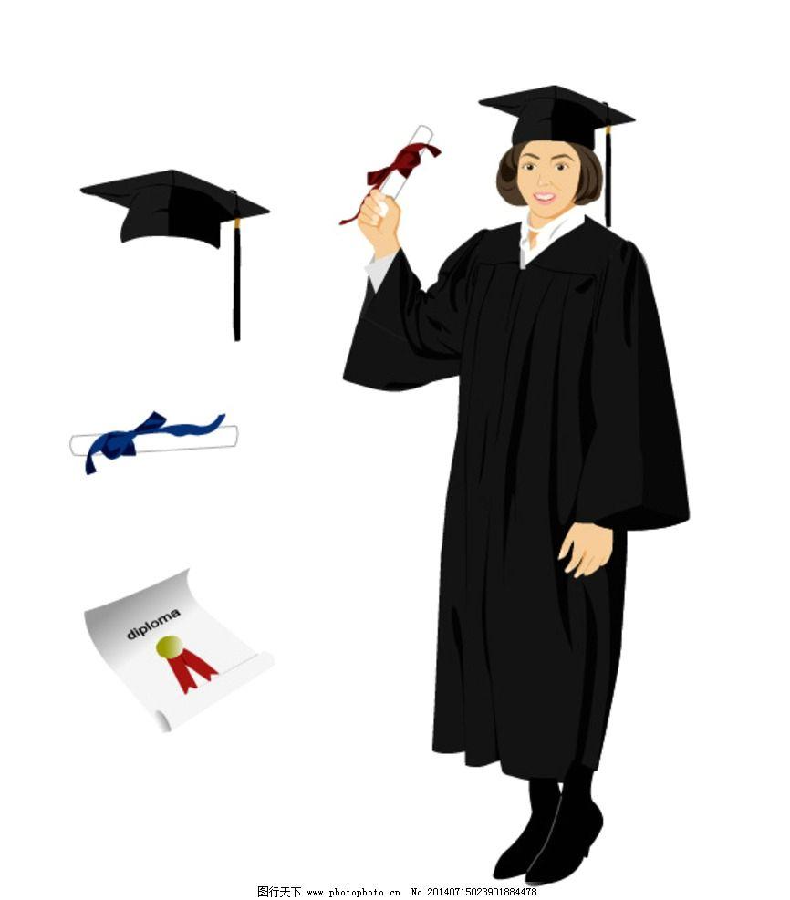 女孩 学士学位 大学毕业 学士服 博士服 博士帽 其他 人物图库 设计