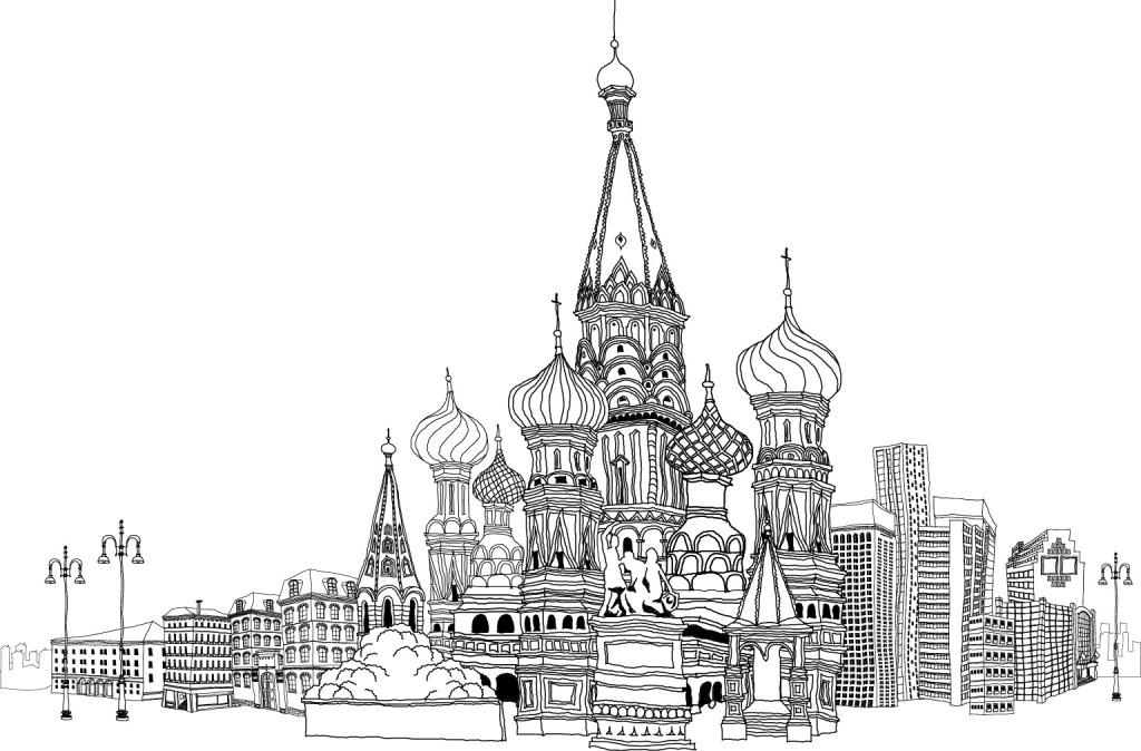 手绘黑白建筑