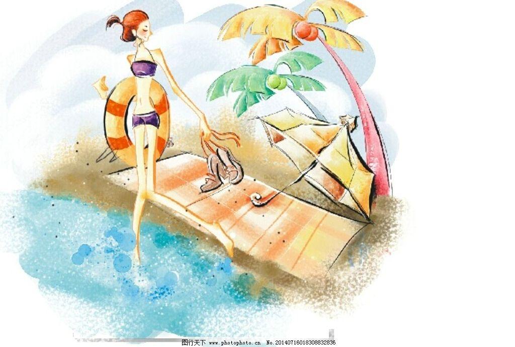 女孩 游泳 游泳圈 鼠绘 手绘 海岛 漫画 海滩 沙滩 动漫动画