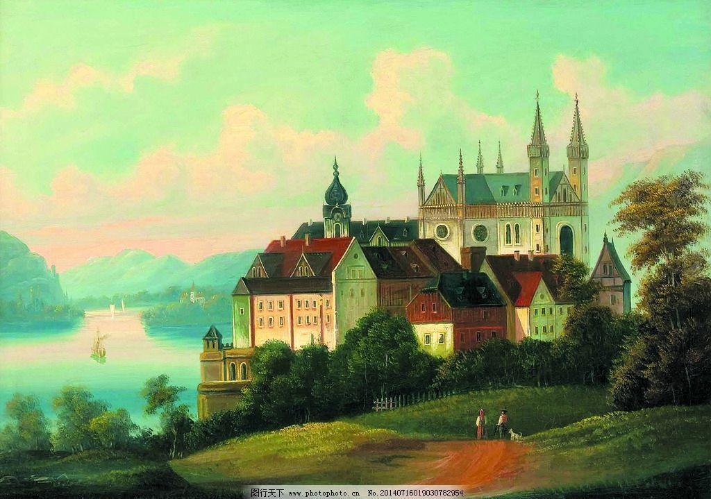 河畔的古城堡图片图片