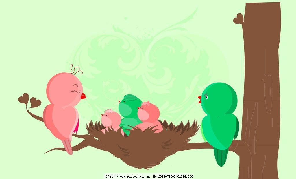 卡通小鸟 色彩 树木 动物 鸟类