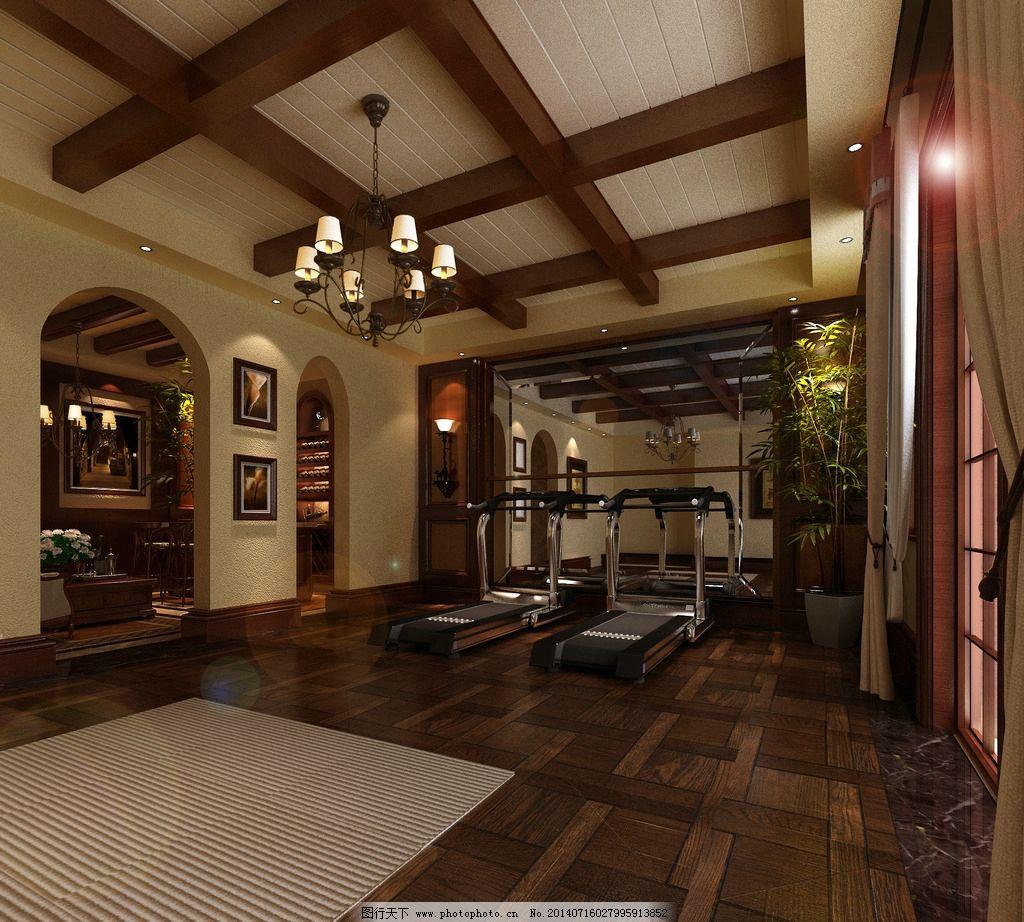 健身房 健身房效果图 美式乡村 美式 体操健身房 室内设计 环境设计