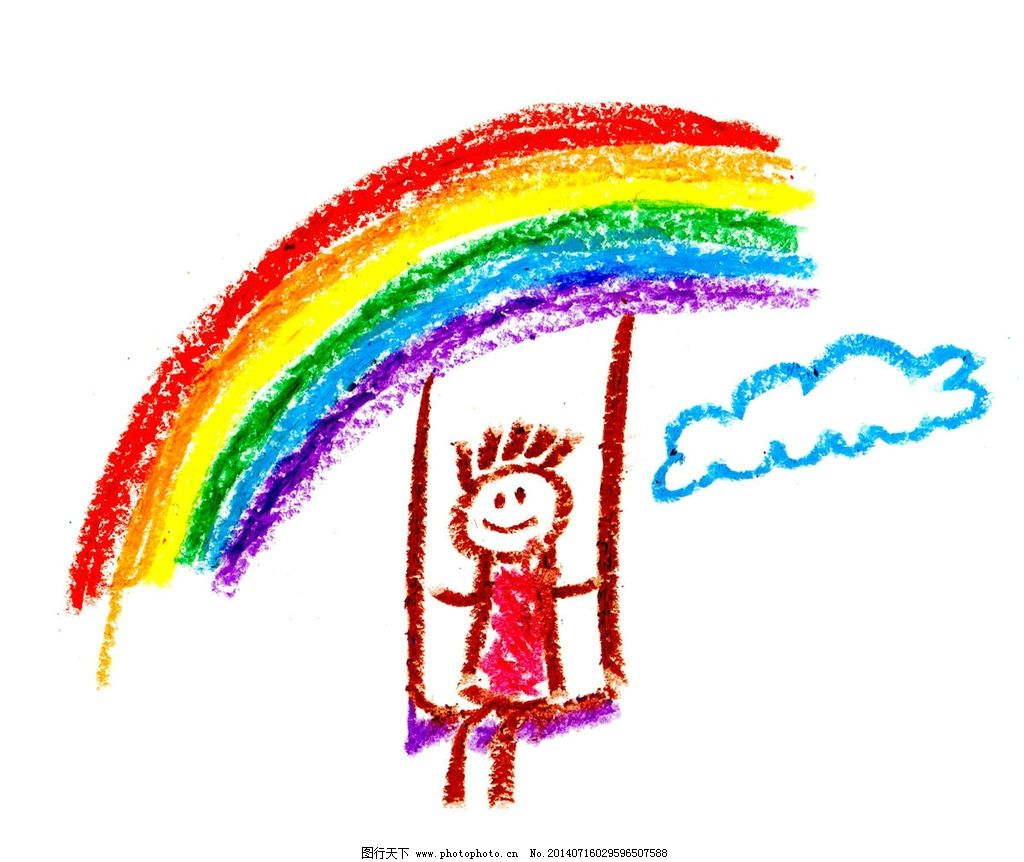 彩虹素描画 画画 美术作品 卡通画 儿童画 彩虹 彩色 色彩 色彩斑斓