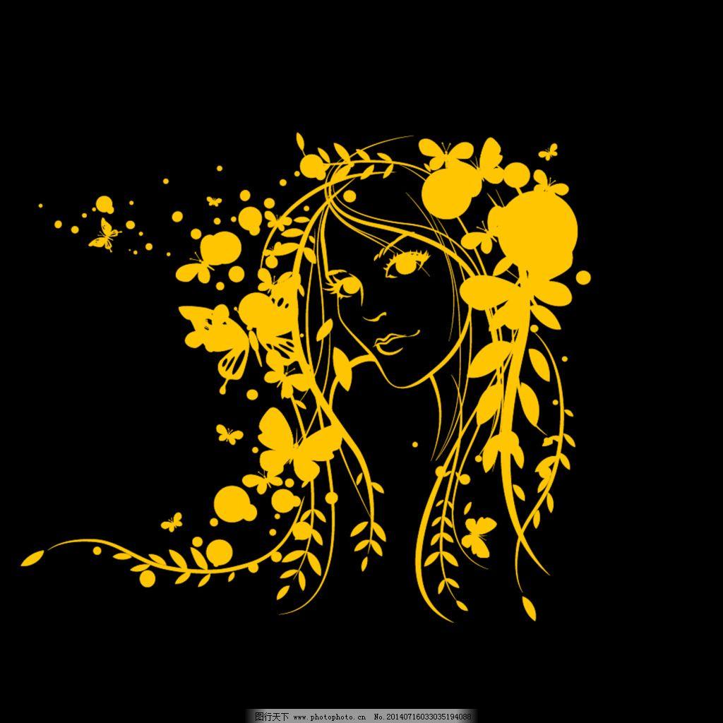花紋裝飾 花紋裝飾免費下載 底紋 卡通 美女頭像