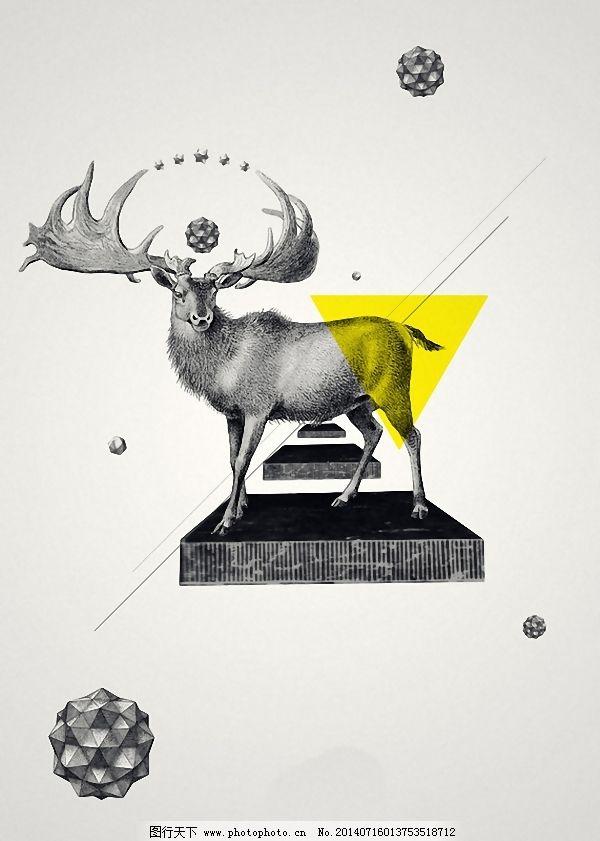 位图 动物 麋鹿 几何图形 色彩 面料图库 服装图案 免费下载 服装设计