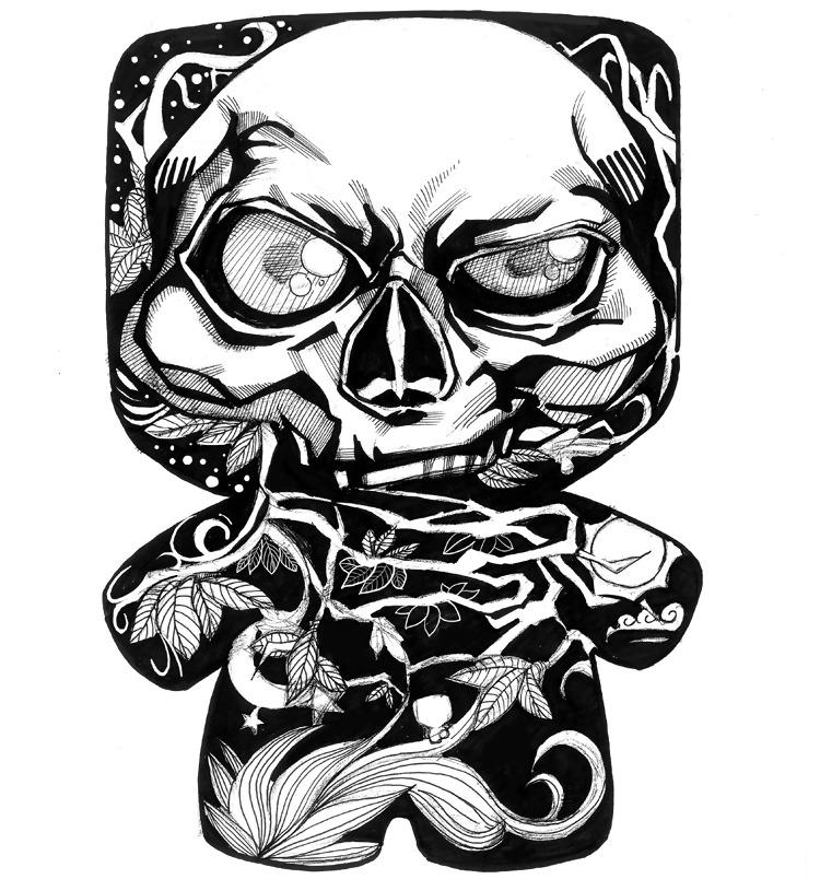 手绘 骷髅 藤条