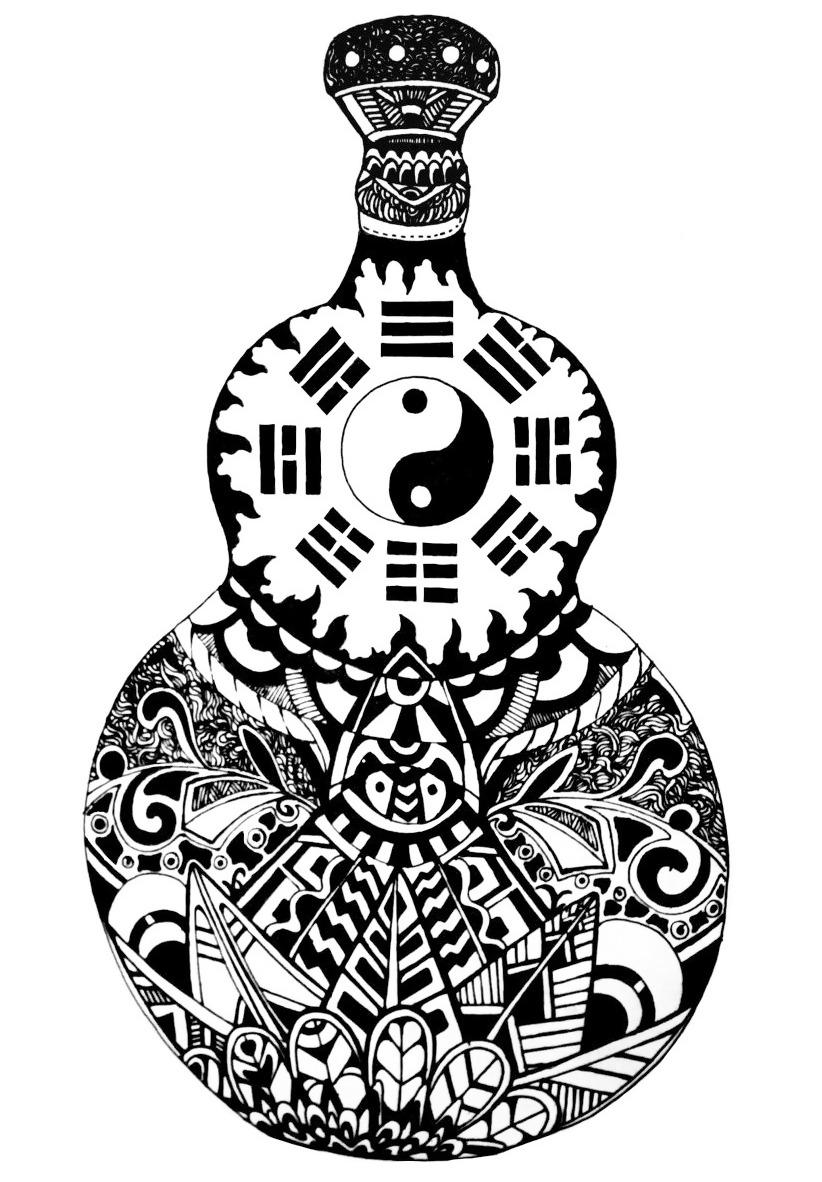 位图 插画 抽象 手绘 葫芦 免费素材