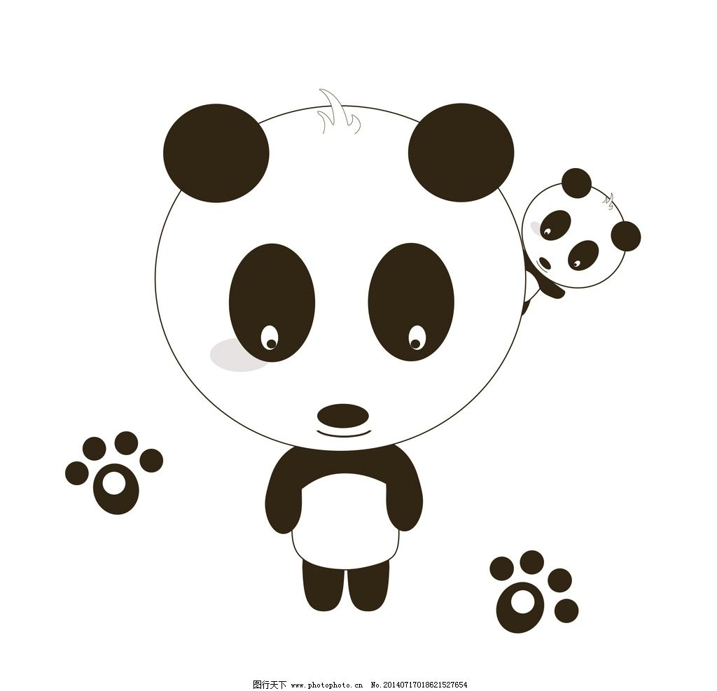 熊猫 萌 可爱 卡通 手绘