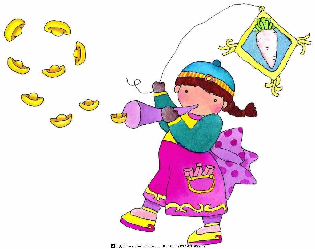 手绘放风筝的小女孩