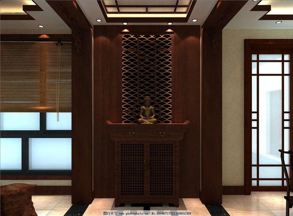 中式玄关效果图 中式 玄关        吊顶 入户玄关 玄关形象墙 3d作品