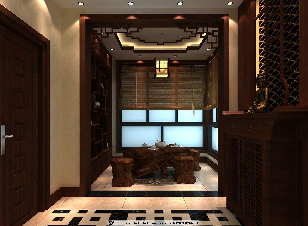 中式入户花园茶室效果图片