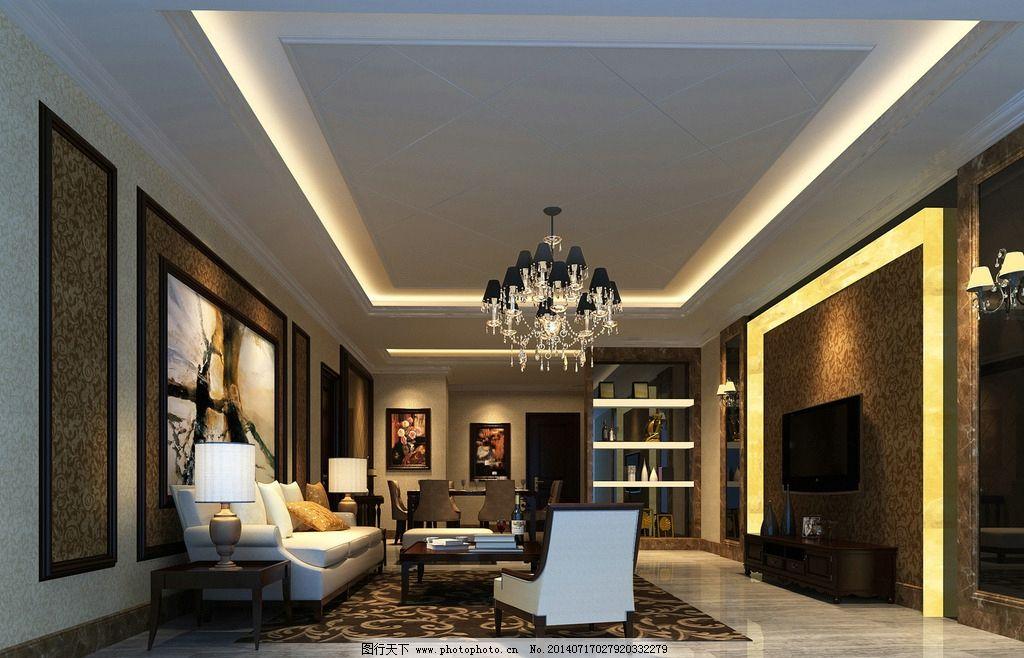 客厅效果图设计             简欧 现代 简约 室内设计 环境设计 设计图片