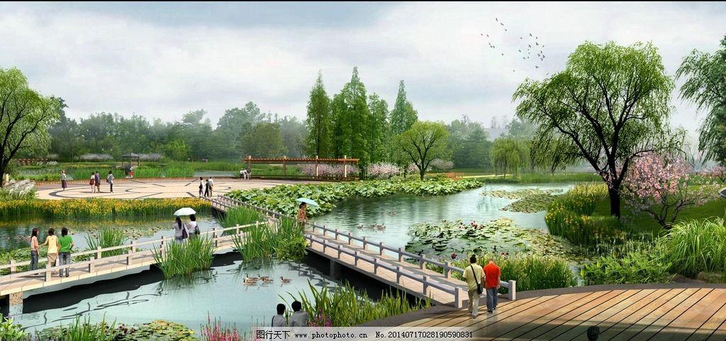 乡村滨水景观效果图 乡村 滨水 景观        园林 水体 植物 绿化 桥