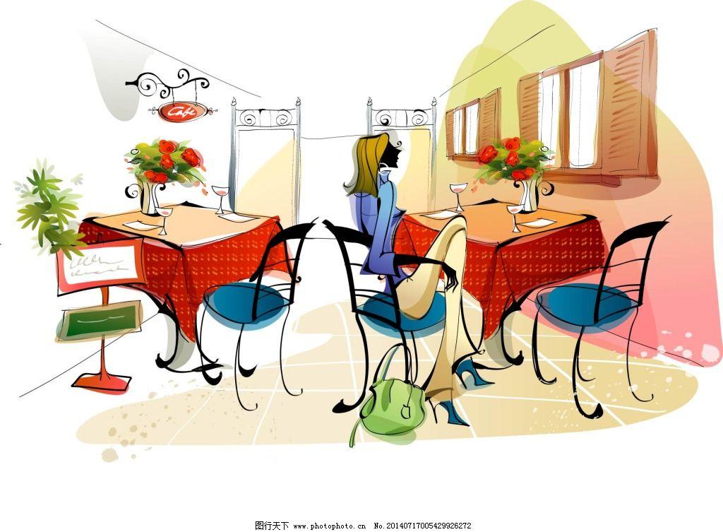 咖啡厅 女郎 手绘 唯美 休闲 手绘 唯美 休闲 咖啡厅 女郎 矢量图