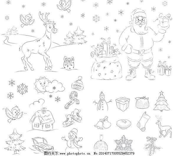圣诞的简笔画免费下载 漫画 麋鹿 小鸟 仪式 节矢量 矢量圣诞动物
