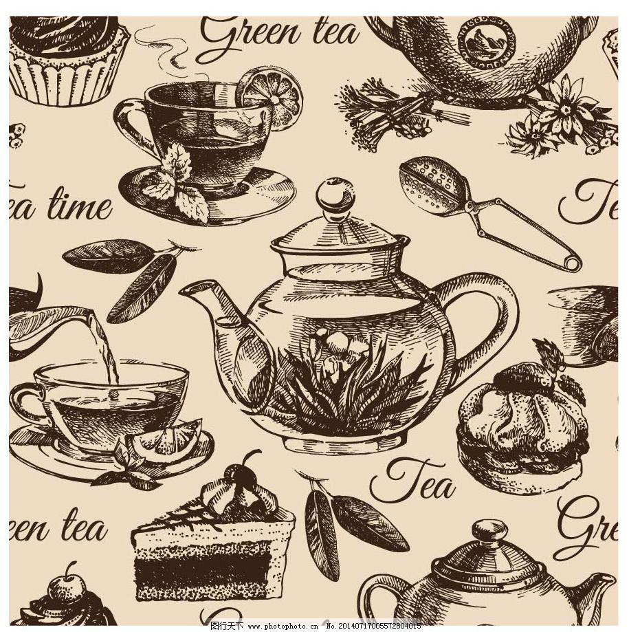 茶壶 花茶 手绘 下午茶 茶壶 花茶 下午茶 手绘 矢量图 其他矢量图