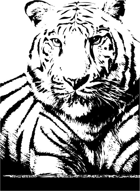 印花矢量图 动物 老虎 色彩 黑白色 免费素材