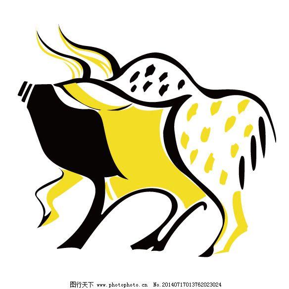印花矢量图 动物 牛 十二生肖 色彩 免费素材