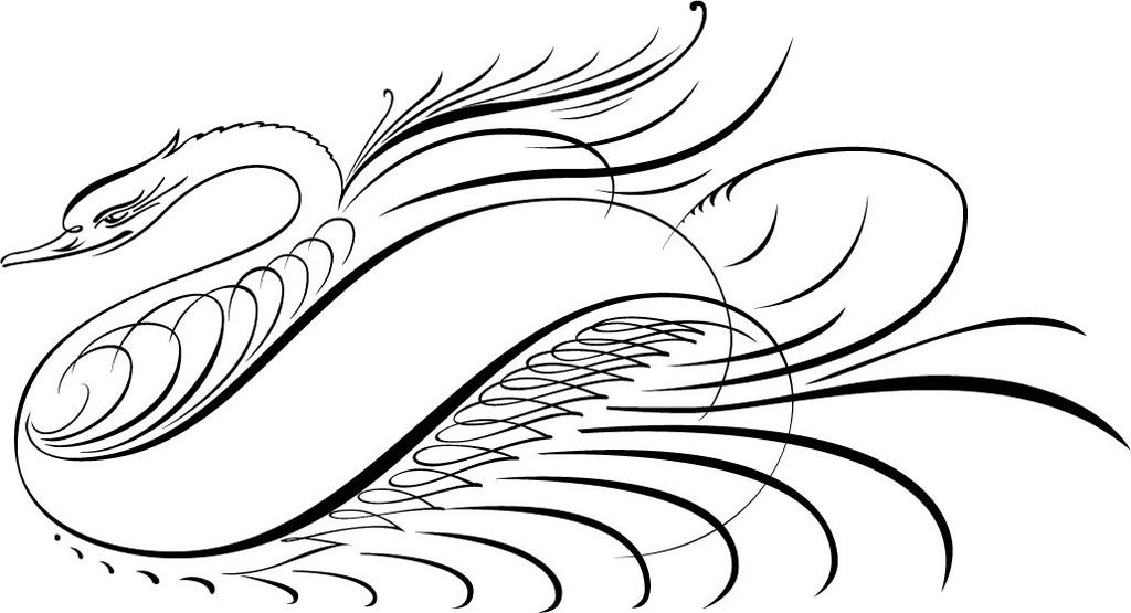 印花矢量图 动物 凤凰 艺术效果 线描 免费素材