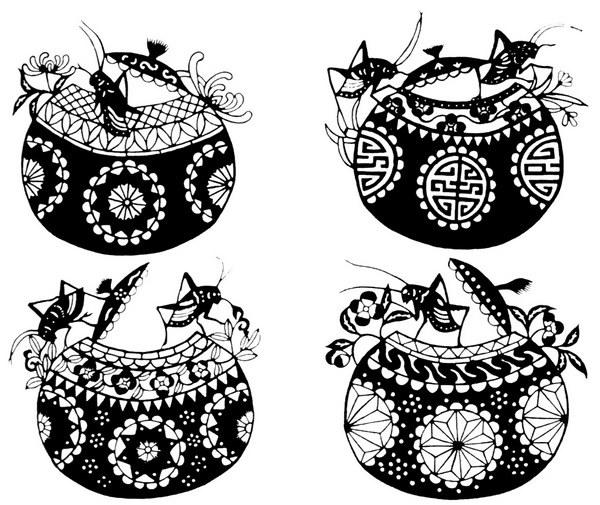 动物 蟋蟀 色彩 黑白色 面料图库 服装图案 免费下载 服装设计 图案花