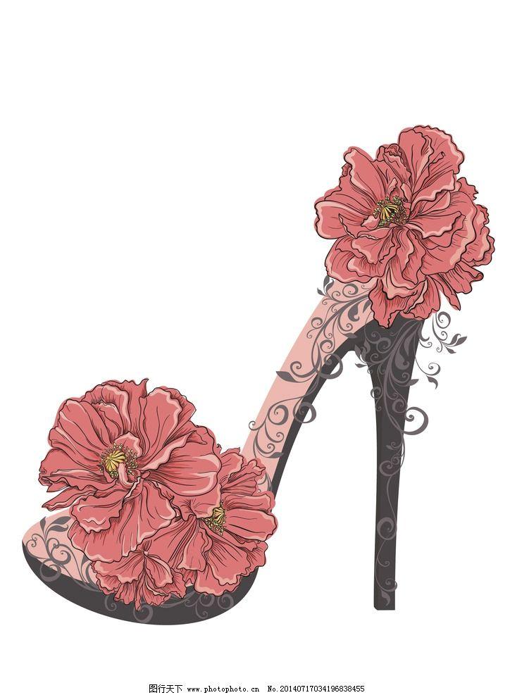 手绘花卉 高跟鞋 花朵