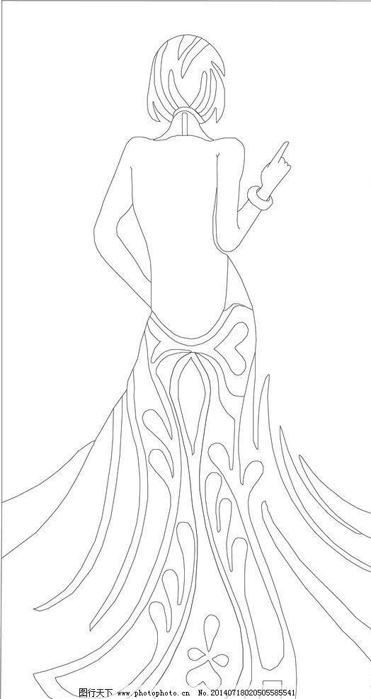 手绘背影女子图片-简笔画 手绘 线稿 524
