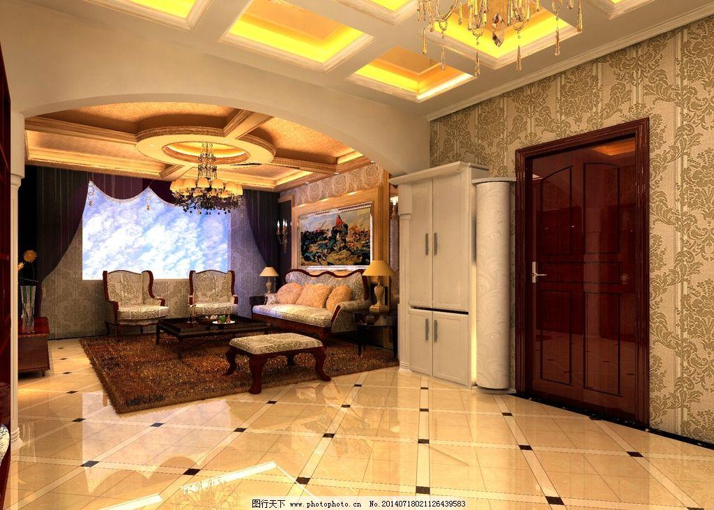 客厅效果 欧式 古典      吊顶 电视墙 3d设计 设计 72dpi jpg