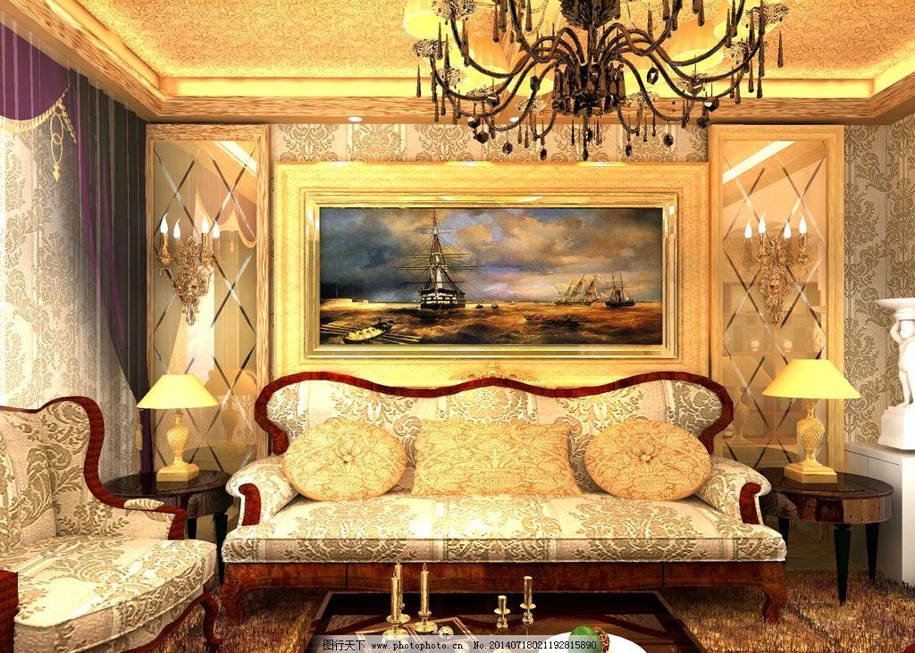 欧式背景墙 电视墙 效果图 吊顶 古典 欧式效果图图片