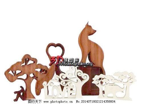 家装饰品 自然动物人木雕 家装饰品 工艺摆设 3d模型素材 室内装饰