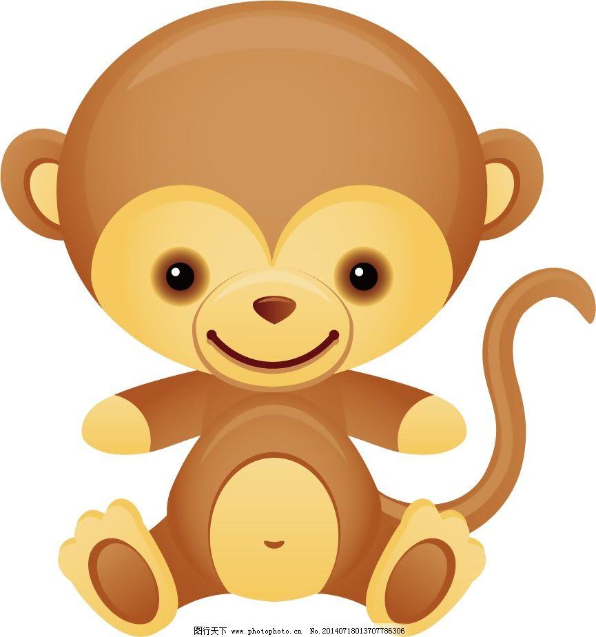 印花矢量图 可爱卡通 卡通动物 十二生肖 猴子 免费素材