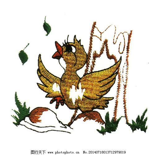 绣花 动物 鸟类 卡通 叶子 免费素材