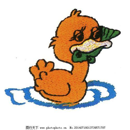 绣花 动物 鸭子 色彩 橙色 免费素材