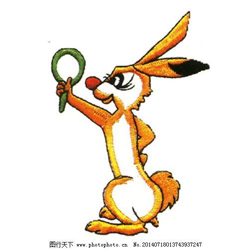 绣花 色彩 黄色 动物 兔子 免费素材_图案花型_服装