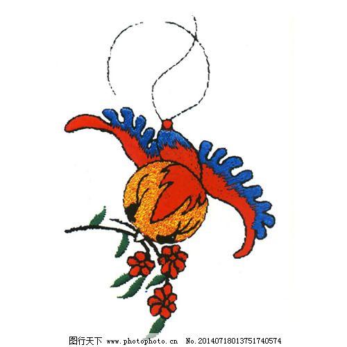 绣花 动物 鸟类 树枝 家纺 免费素材