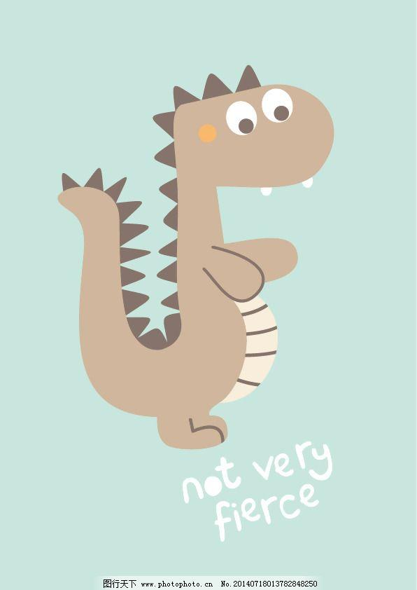 印花矢量图 可爱卡通 卡通动物 恐龙 英文 免费素材