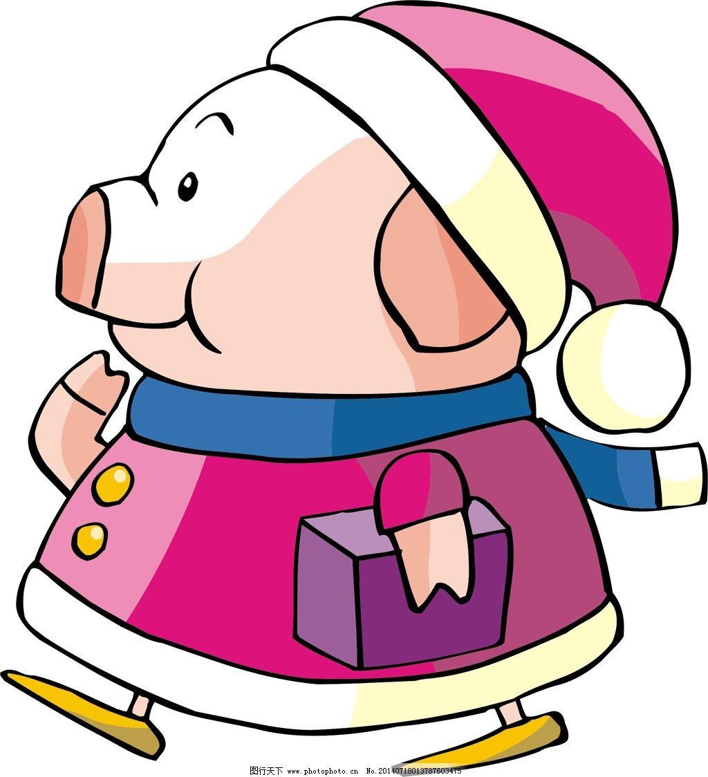 花矢量图 动物 猪 帽子