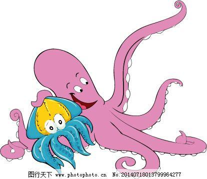 印花矢量图大全动物章鱼可爱卡通图片免费猴子捞月的ppt卡通色彩图片